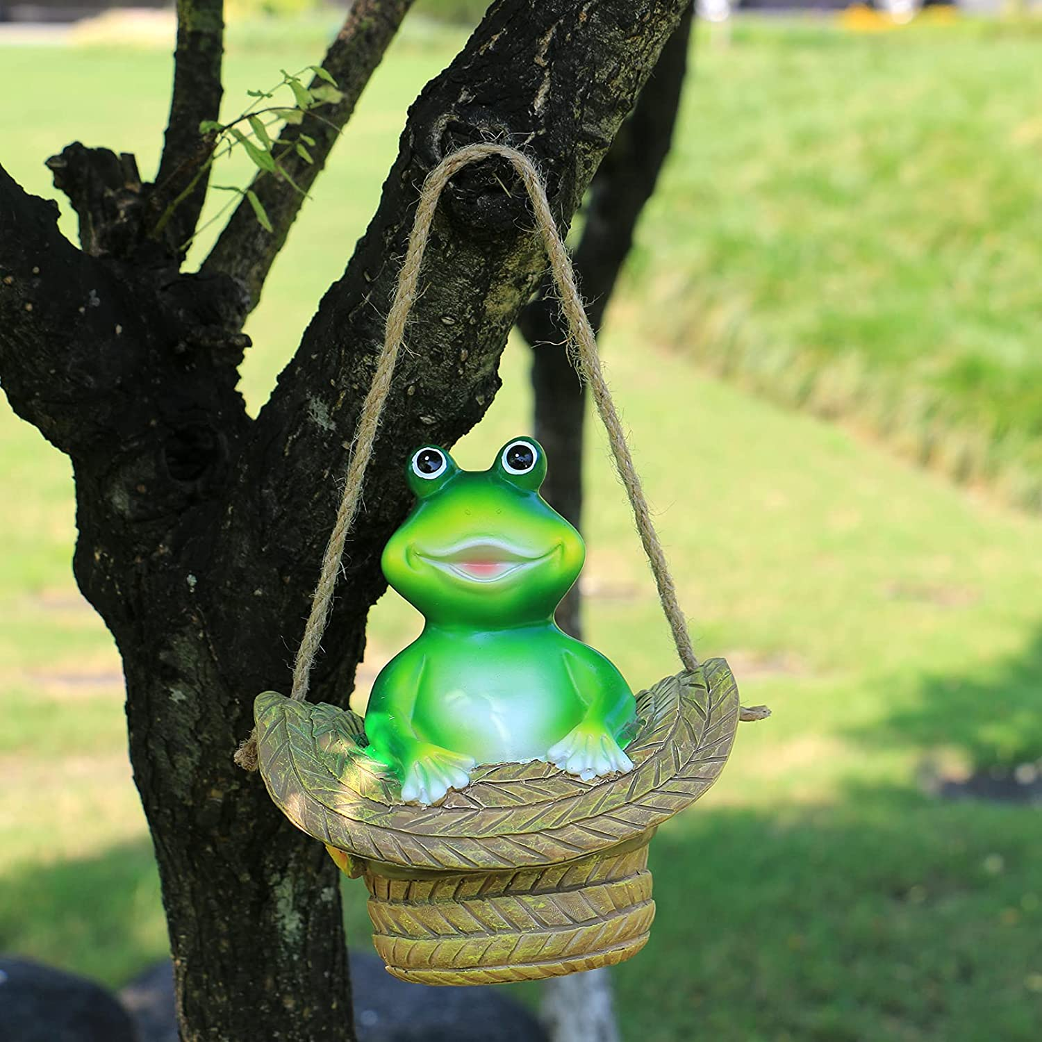 Garden Statues Outdoor Decor Frog Garden Tree Faces Decor Hanging Gnomes for Outside Tree Huggers Decorations Sculptures Figurines Yard Ornament Patio Indoor Wall Animal Clearance Funny