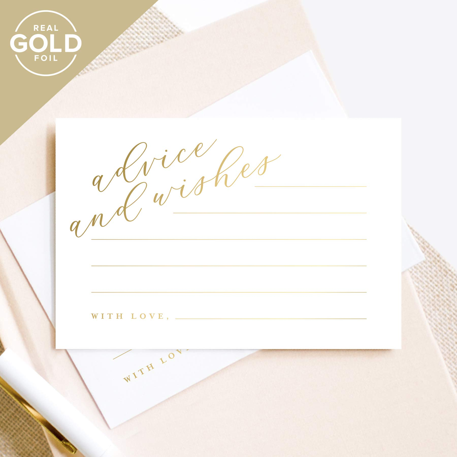 Gold Advice and Wishes Cards, Perfect for the Bride and Groom, Mr and Mrs, Baby Shower, Bridal Shower, Wedding, Graduation or special event - 50 Pack of 4x6 Cards from Bliss Paper Boutique