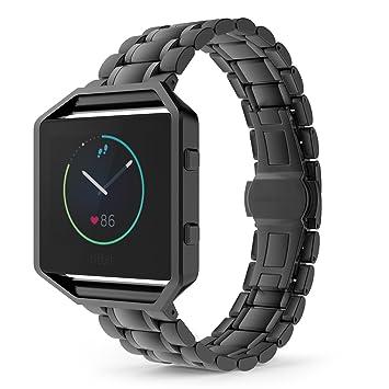 MoKo Fitbit Blaze Watch Correa - Reemplazo SmartWatch Band de Reloj Acero Inoxidable Metal PlegableAccesorios (NO Incluye Marco) para Fitbit Blaze ...
