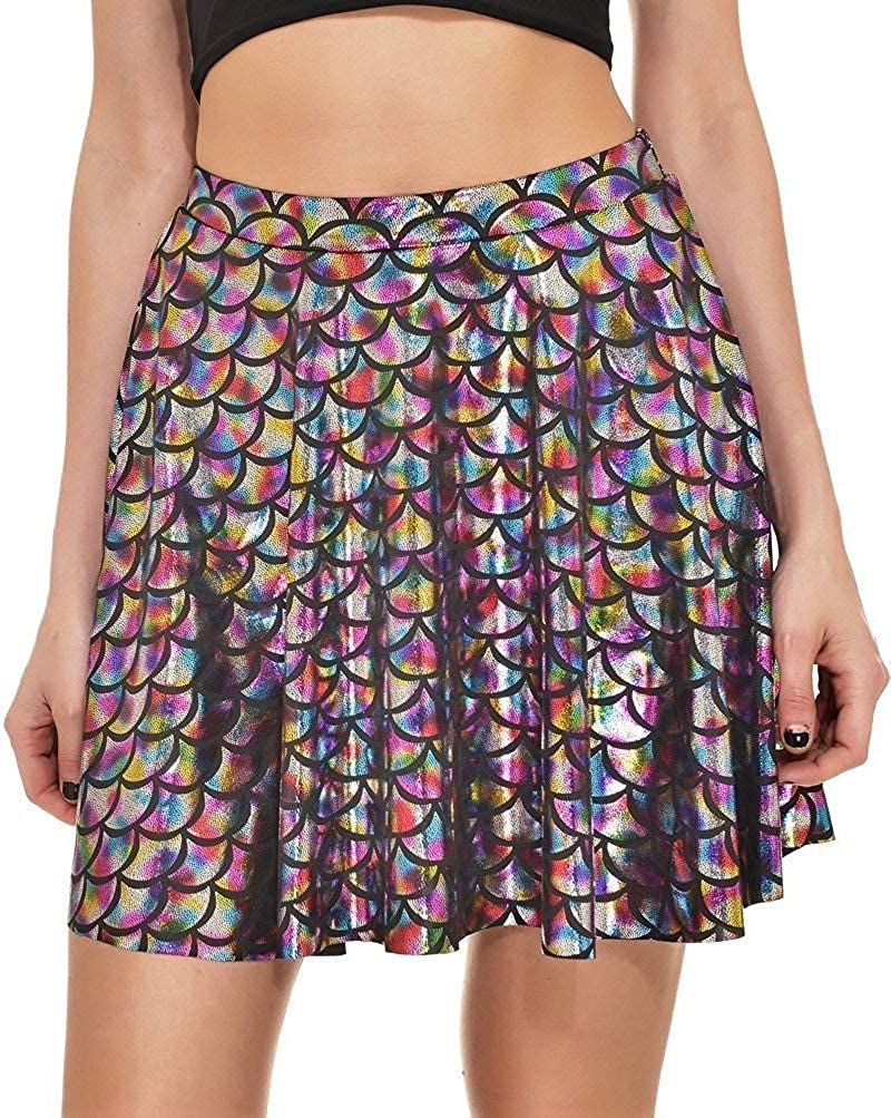 Annaqueen Womens Galaxy Print Flared Pleated A-Line Skater Party Mini Skirt AQSKIRT5