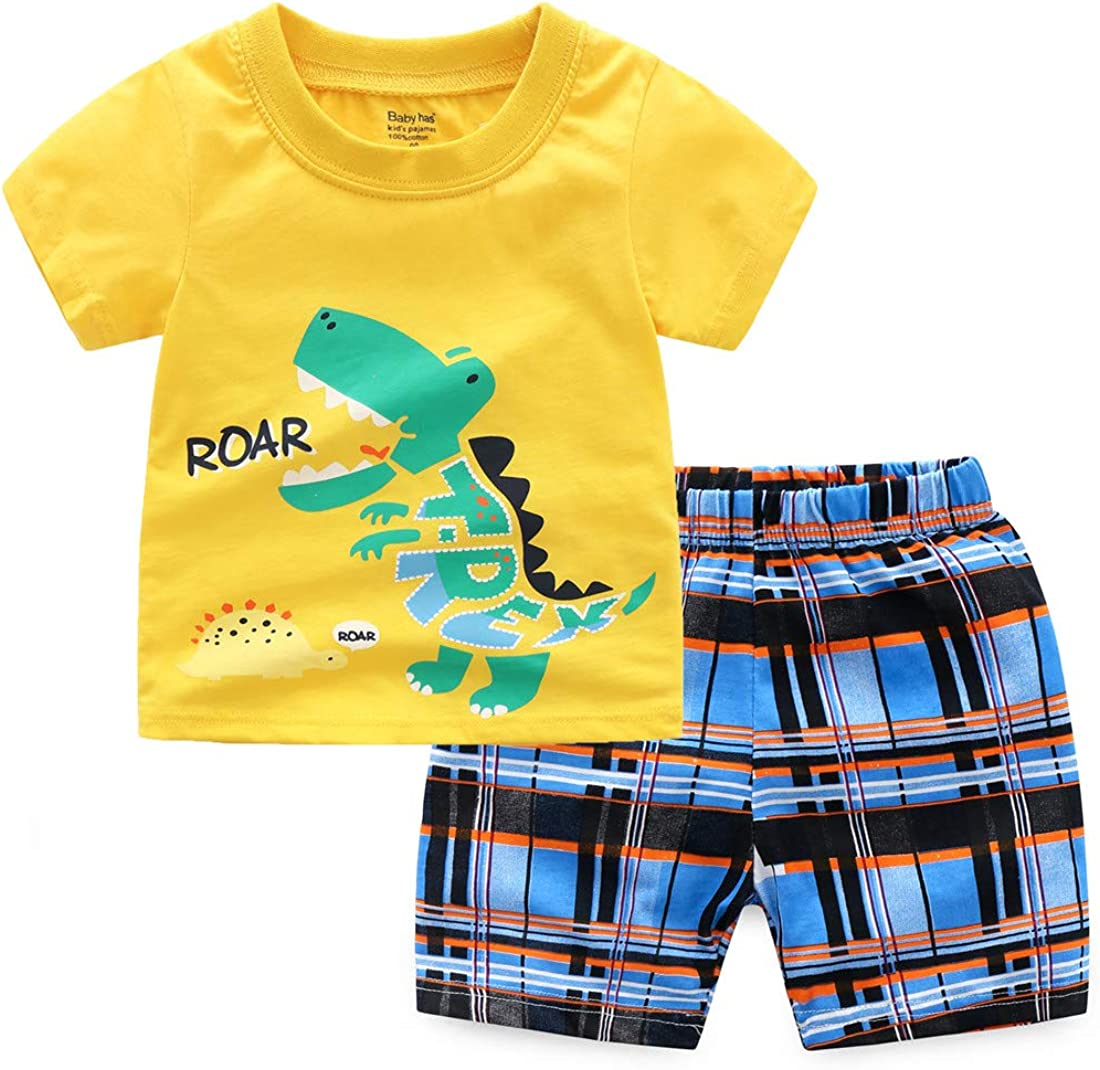 DUHUD Toddler Kids Girls Boys Pajamas 2 Piece Sets Pj Funny Short Sleeve Tee and Shorts
