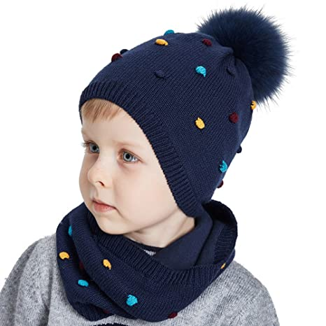 Amazon.com  SOMALER Toddler Hat and Scarf Set Unisex Childrens ... fa66d5f6d42