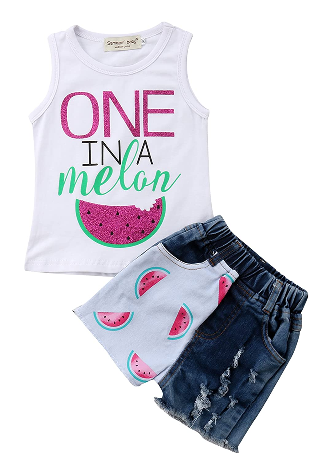 Melon Denim Jeans Shorts 1-6T Toddler Baby Little Girls Summer Outfits Sets Watermelon Sleeveless Vest Tops