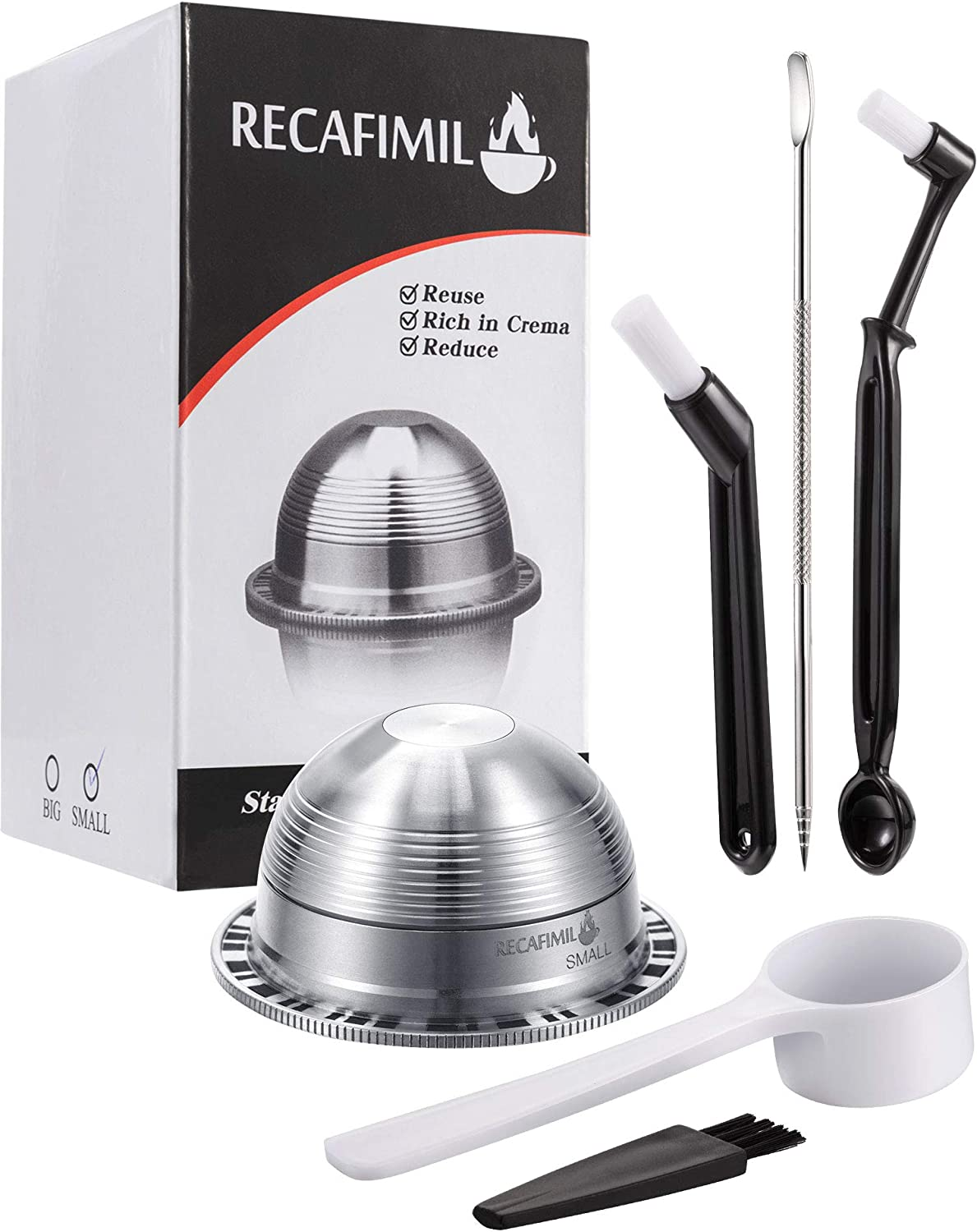 4 Pieces Stainless Steel Coffee Capsules Pods Set Compatible with NESPRESSO Vertuolline GCA1 and Delonghi ENV135, Include Cleaning Brushes, Coffee Pull Needle Refillable(Style 1)
