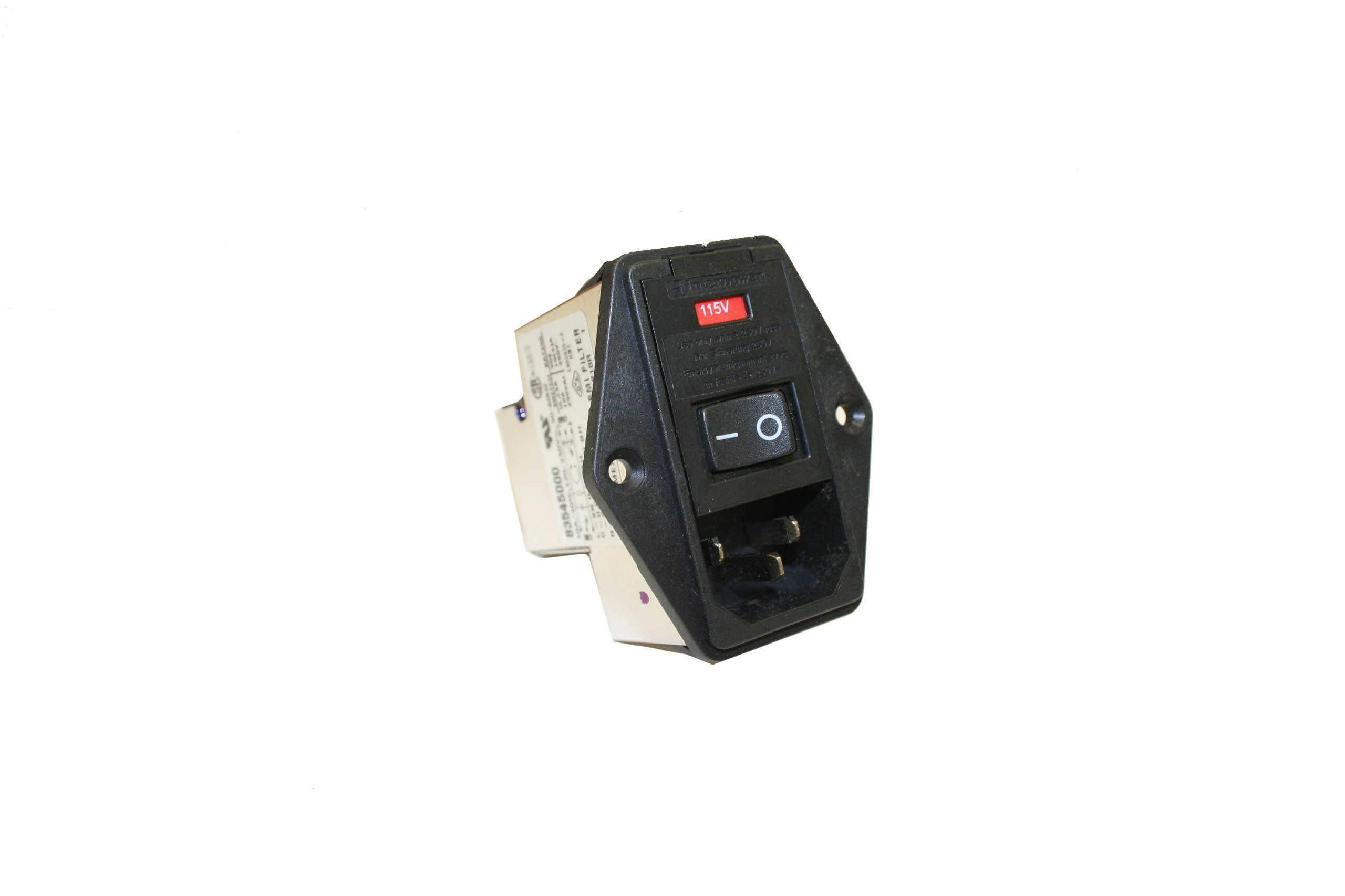 Interpower 83545000 Five Function Screw Mount Module, C14 Inlet, Switch, Single Fused, Voltage Selector, Filter, 10A Current Rating, 120/250VAC Voltage Rating