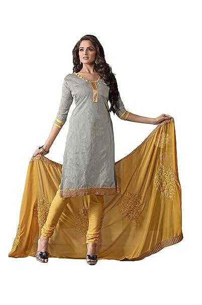 1aaee585aa Lineysha Boutique Plain Suit Unstitched Plain Chanderi Silk Kurta Pc:Cotton  Salwar Pc::Embroidered Naznin Dupatta Grey::Mustard: Amazon.in: Clothing &  ...