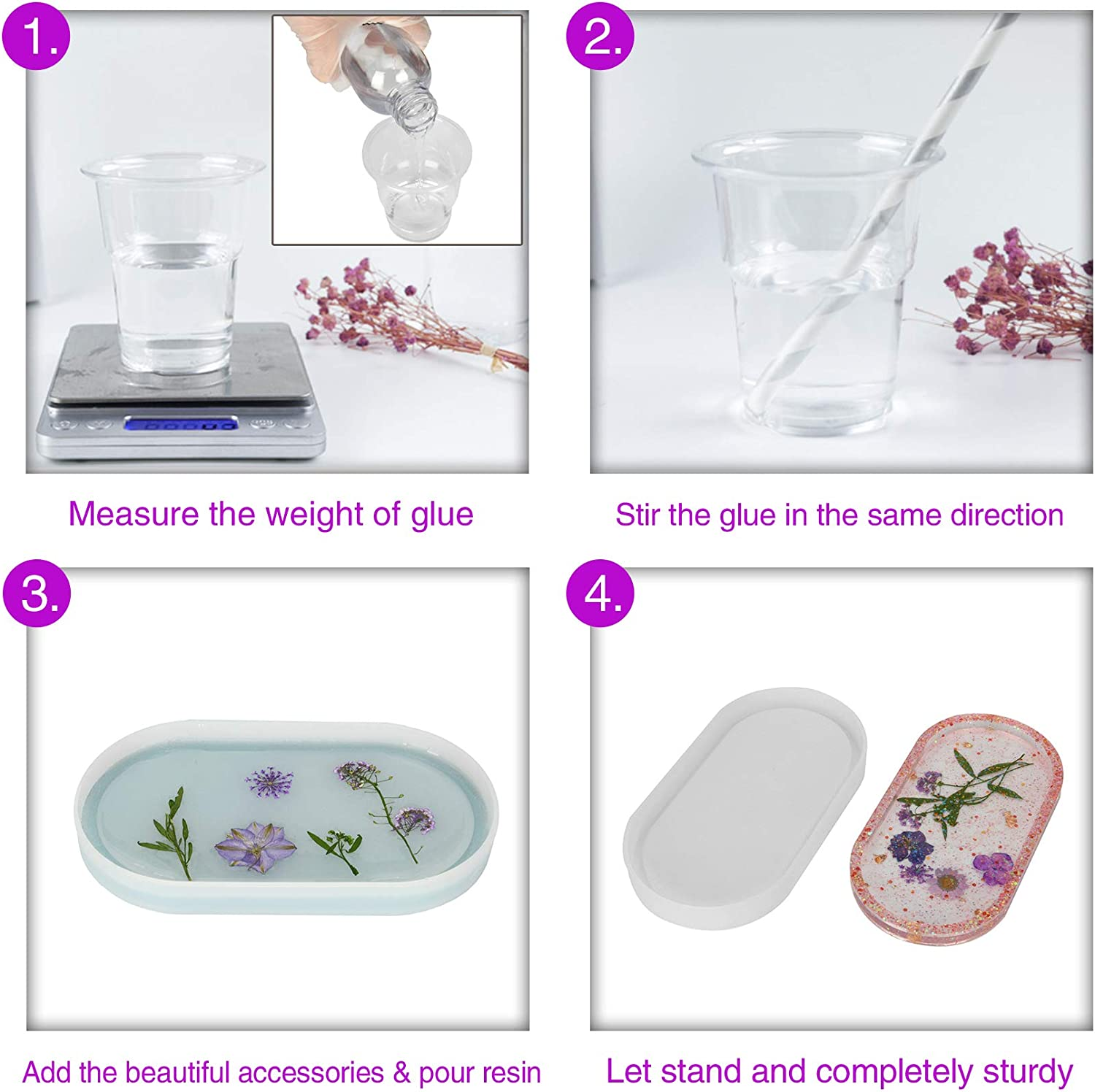 Cup Mats Easy Demold DIY Plate Resins Mould for Jewelry Holder Soap Dish 7.4/×0.7 Sapid Silicone Oval Tray Mold for Casting Epoxy Resin with Gold Rose Foil Flakes Set