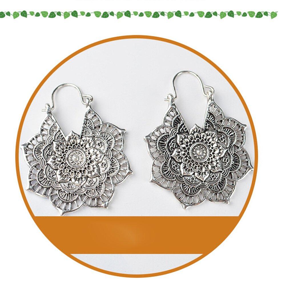 9273e1120a07 FENICAL Pendientes de Flores Vintage Ahueca hacia Fuera los Anillos de Oído  Ganchos Pendientes Románticos de la Gota para Mujeres Niñas (Plata  Antigua)  ...