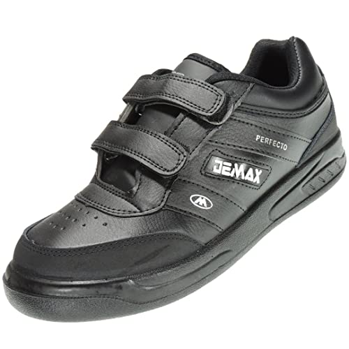 DEMAX P802 Zapatilla Deportiva Hombre Sneaker Velcro Piel Ancho Piso Llano Grueso Ligero: Amazon.es: Zapatos y complementos