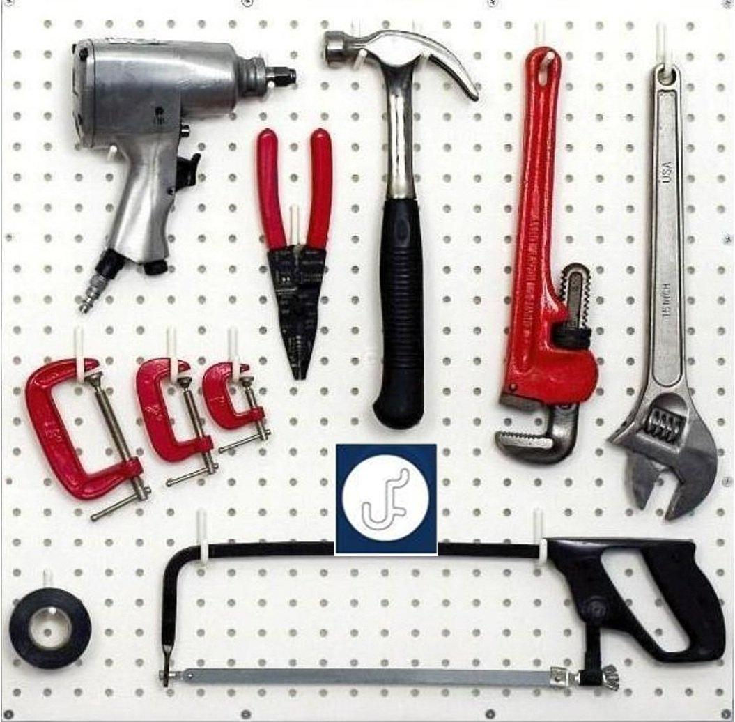 WallPeg White Pegboard Hooks – Flex-Lock J Style for Pegboard Tool Storage