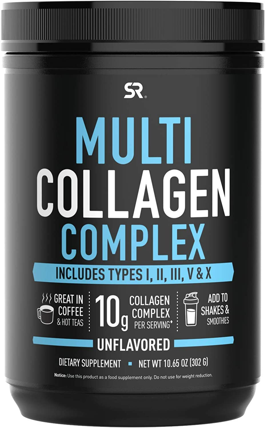 Multi Collagen Protein Powder (Type I, II, III, V, X) with Hyaluronic Acid + Vitamin C | 5 Types of Food Based Collagen, Great in Coffee & Protein Drinks | Non-GMO Verified. 30 Servings (Unflavored)