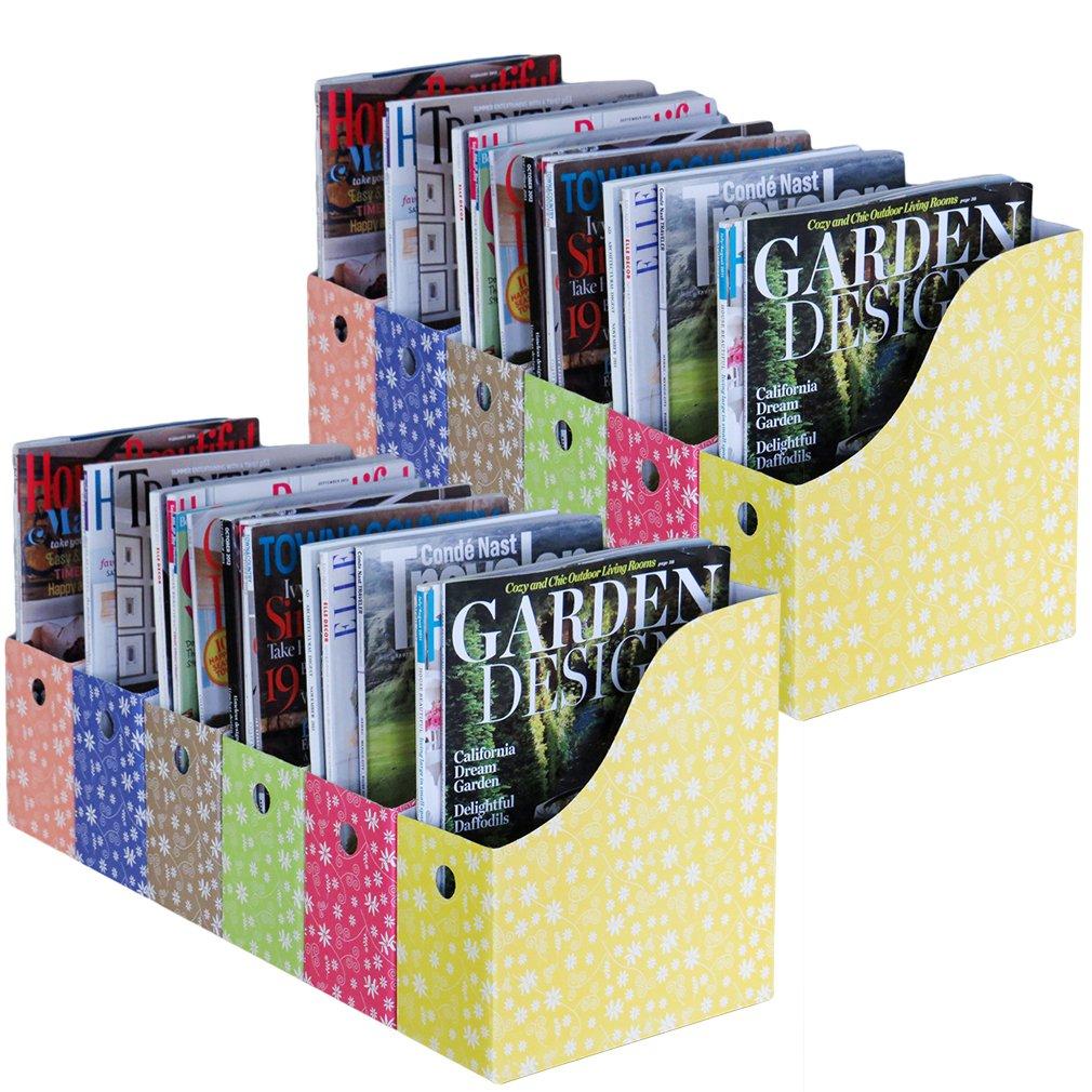 Evelots Set of 12 Magazine File Holder Storage Organizer W/Labels, Floral