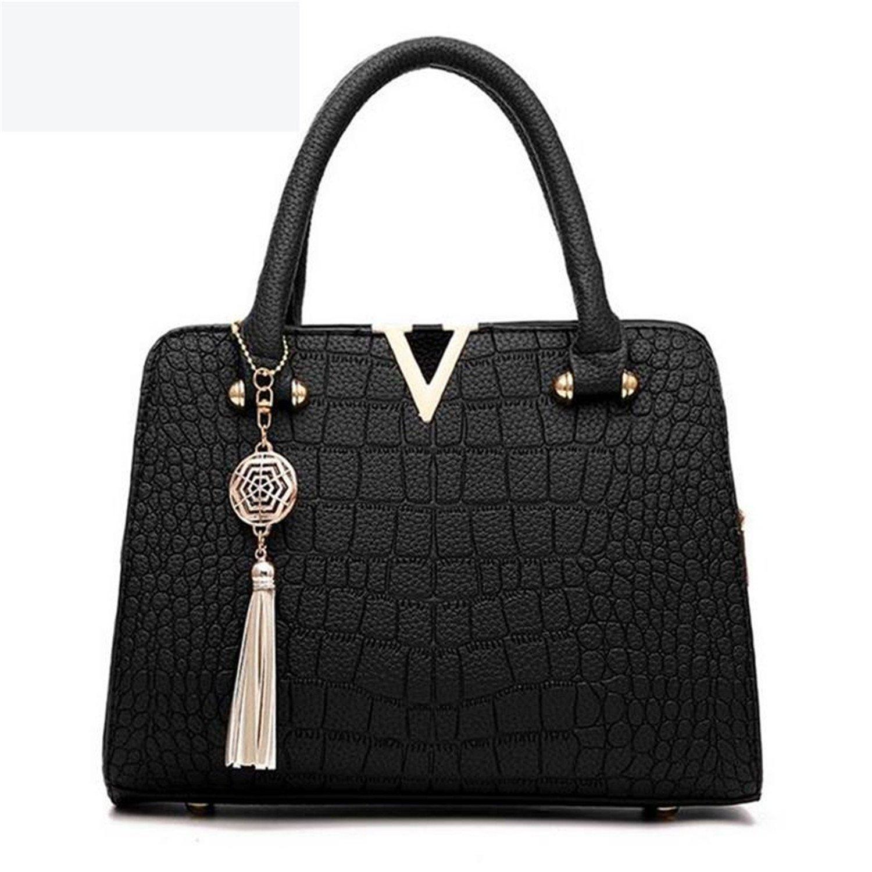 4ca0ad0067f Amazon.com  Joseph Papa Crocodile Leather Women Bag V Letters Designer  Handbags Luxury Quality Lady Shoulder Crossbody Bags Black  Shoes