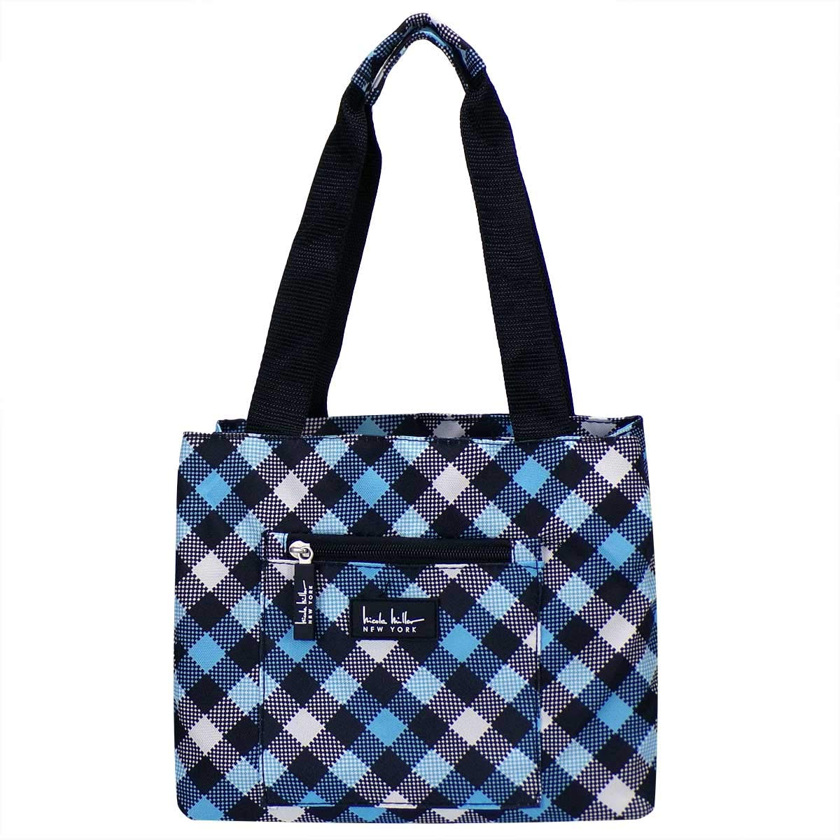 """Nicole Miller of New York Insulated Waterproof Lunch Box Cooler Bag - 11"""" Lunch Tote (Blue Plaid)"""