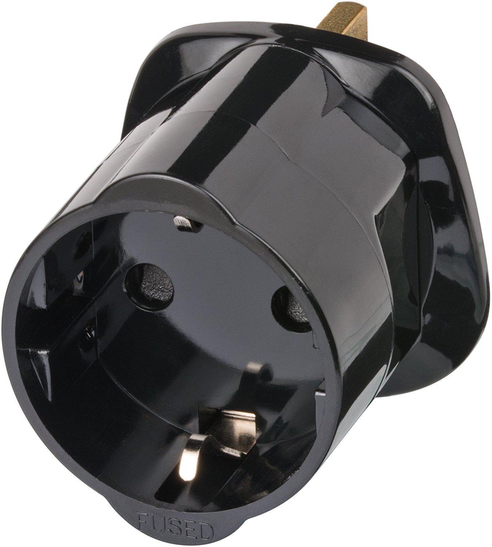 Steckdosenadapter Reise 5 St/ück Brennenstuhl Reisestecker Adapter Farbe: schwarz F/ür: England Steckdose und Euro Stecker