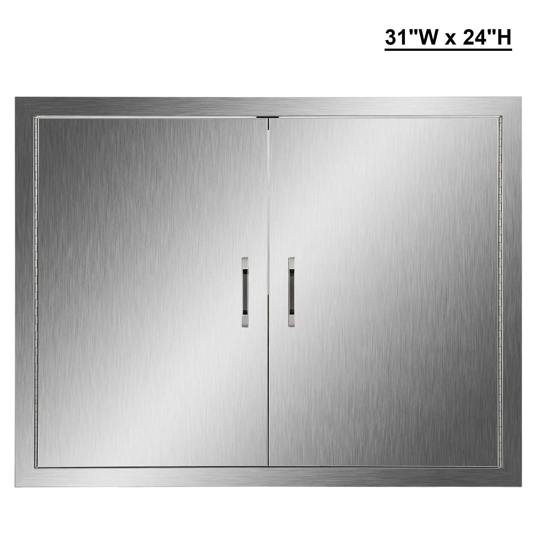 CO-Z Outdoor Kitchen Doors, 304 Brushed Stainless Steel Double BBQ Access Doors for Outdoor Kitchen, Commercial BBQ Island, Grilling Station, Outside Cabinet, Barbeque Grill, Built-in (31'' W x 24'' H) by CO-Z (Image #1)