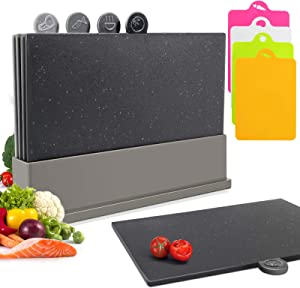 Index Chopping Board Set With Food Icons, Professional Plastic Cutting Board and Easy Storage Non-Slip Base for Kitchen, 4-piece Free Colored Cutting Board Mats