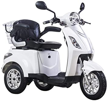 Lunex Scooter Electrico Movilidad Reducida Triciclo/Scooter RECREATIVO Minusvalido Mayores 3 Ruedas Adulto con Asiento hasta 25km/h 48V 80AH 500W Blanco: ...