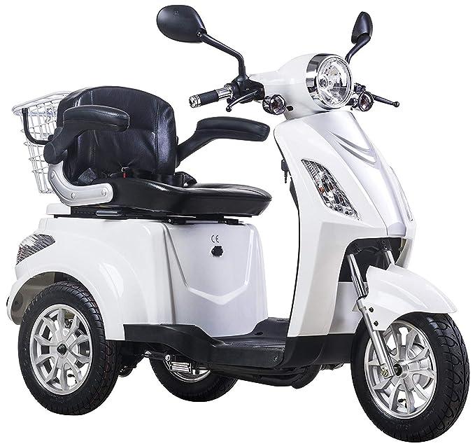 Lunex Scooter Electrico Movilidad Reducida Triciclo/Scooter RECREATIVO Minusvalido Mayores 3 Ruedas Adulto con Asiento hasta 25km/h 48V 80AH 500W Blanco: ...