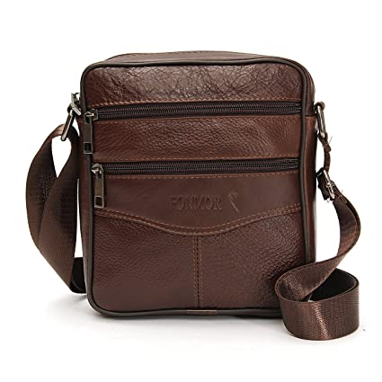 bf3814411185 OURBAG Men Vintage Cowhide Leather Shoulder Messenger Bag Crossbody Small  Satchel Dark Brown