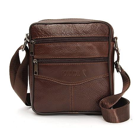69c83e0ba3ab OURBAG Men Vintage Cowhide Leather Shoulder Messenger Bag Crossbody Small  Satchel Dark Brown
