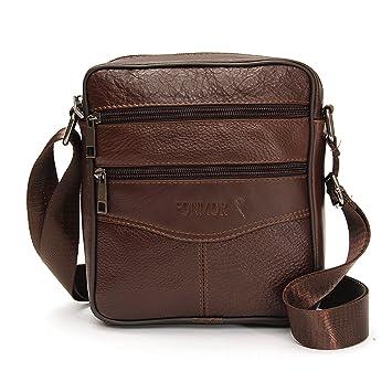 d5c5953355c6c OURBAG Herren Kleine Rindsleder Schultertasche Umhängetasche Handtasche  Messenger Bag mit Reißverschluss Braun Mitte