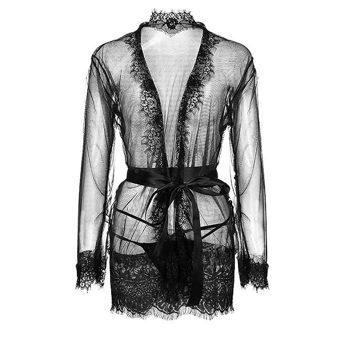 Amazon.com: MOSERIAN Women Sexy Plus Size Eyelash Lace Trim Robe + Belt Sleepwear Lingerie Underwear: Clothing