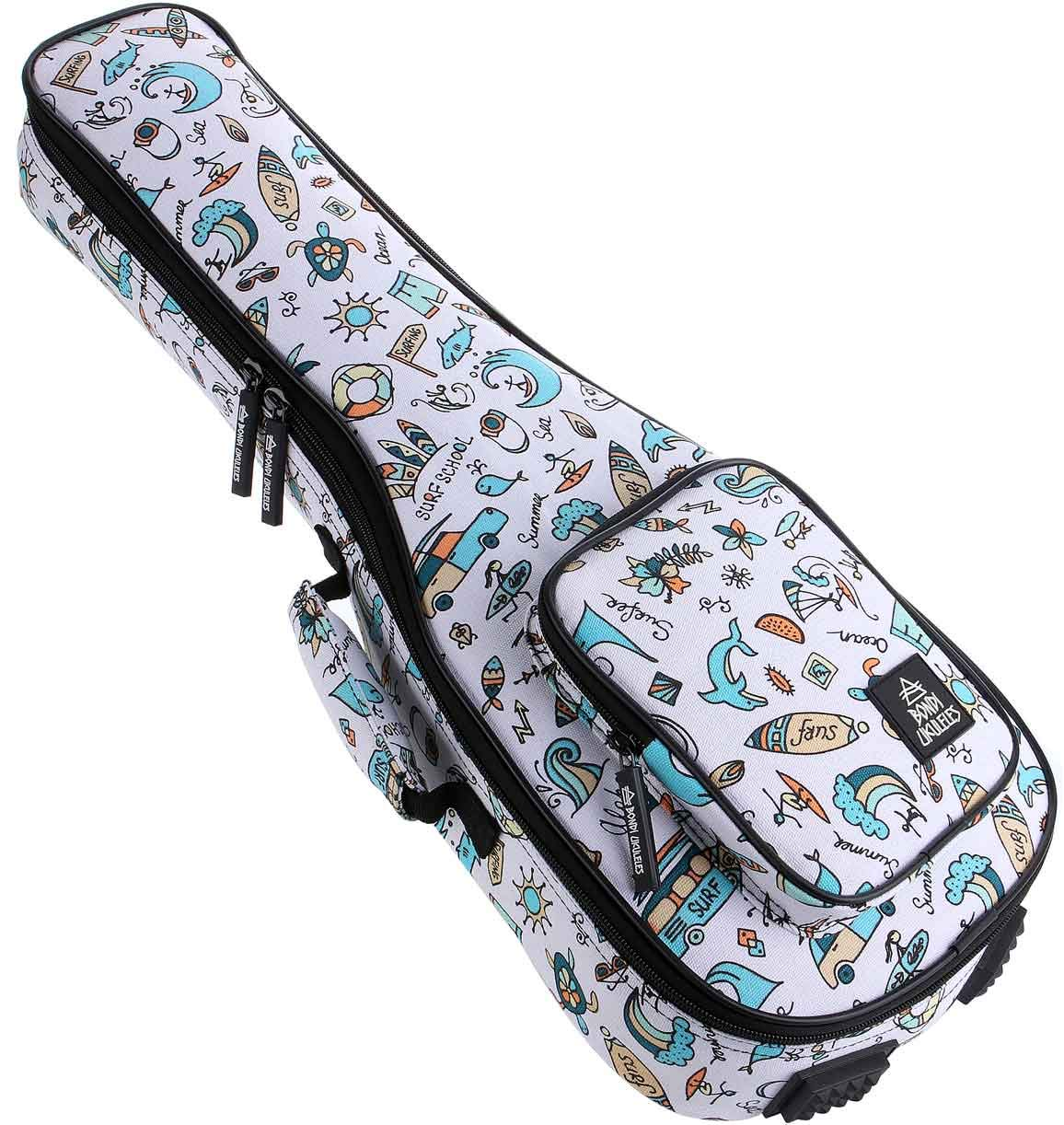 Ukulele Case Concert Size 8 Official Colors Front Pouch Triple Shock-Proof Padding Enhanced Glide Zip Backpack Straps (High Tide Summer Vibes)