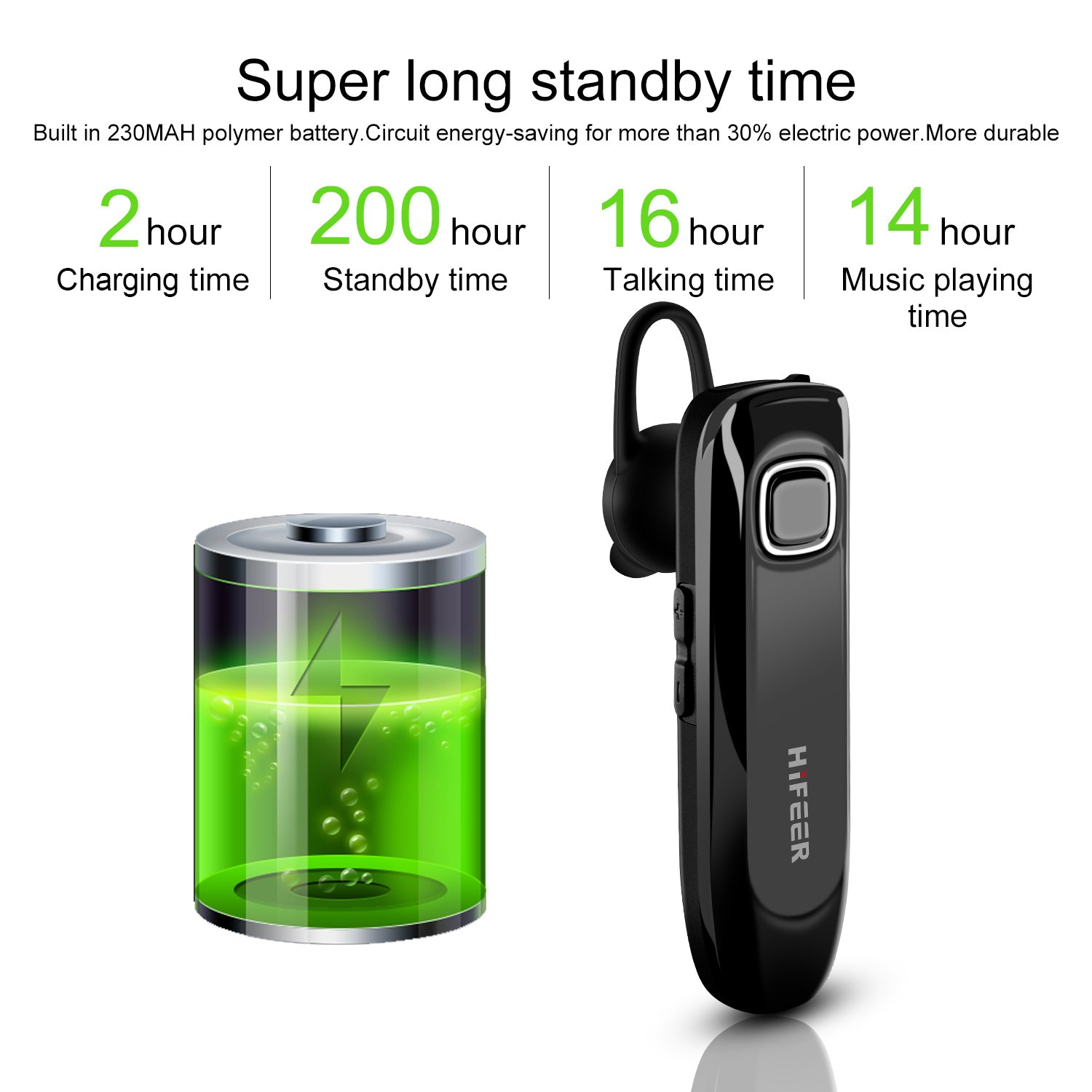 Hifeer Bluetooth Headset Waterproof Ipx5 V41 Telephone Circuit Music On Hold Headphone With Noise Cancelling Mic Black Cell Phones Accessories