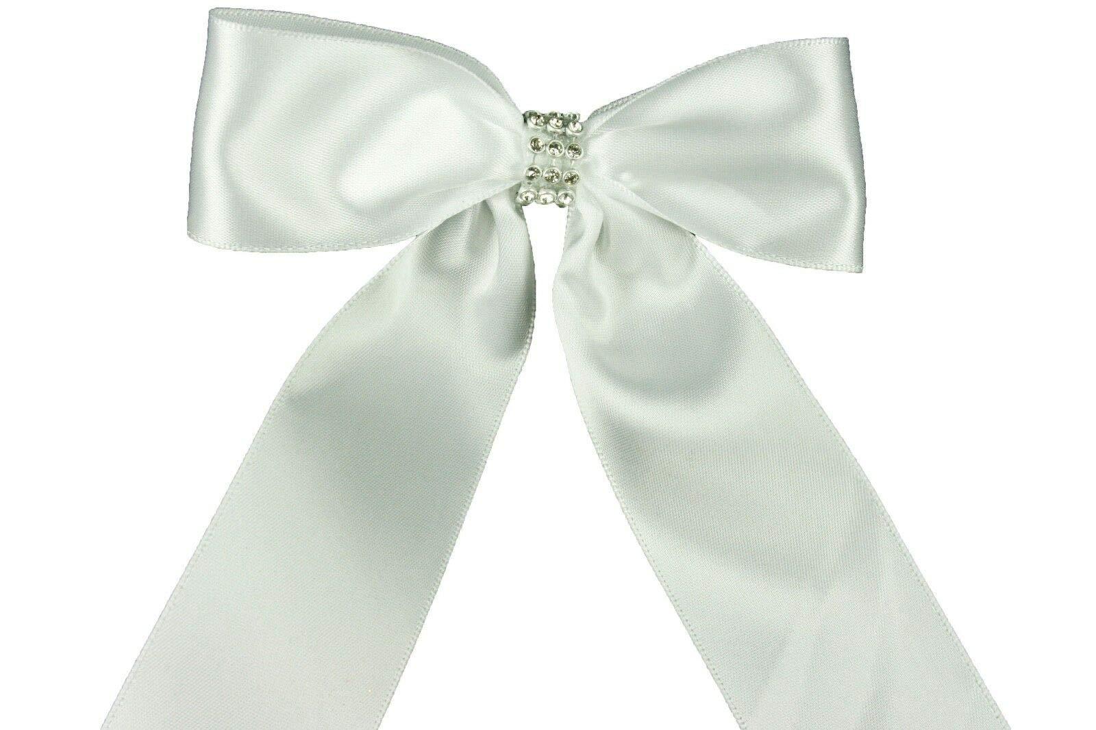 Bright Sun White (Set of 10) Pre-Made 1-1/2'' Satin Bows Rhinestone Center Design with Wire Tie #DPNH