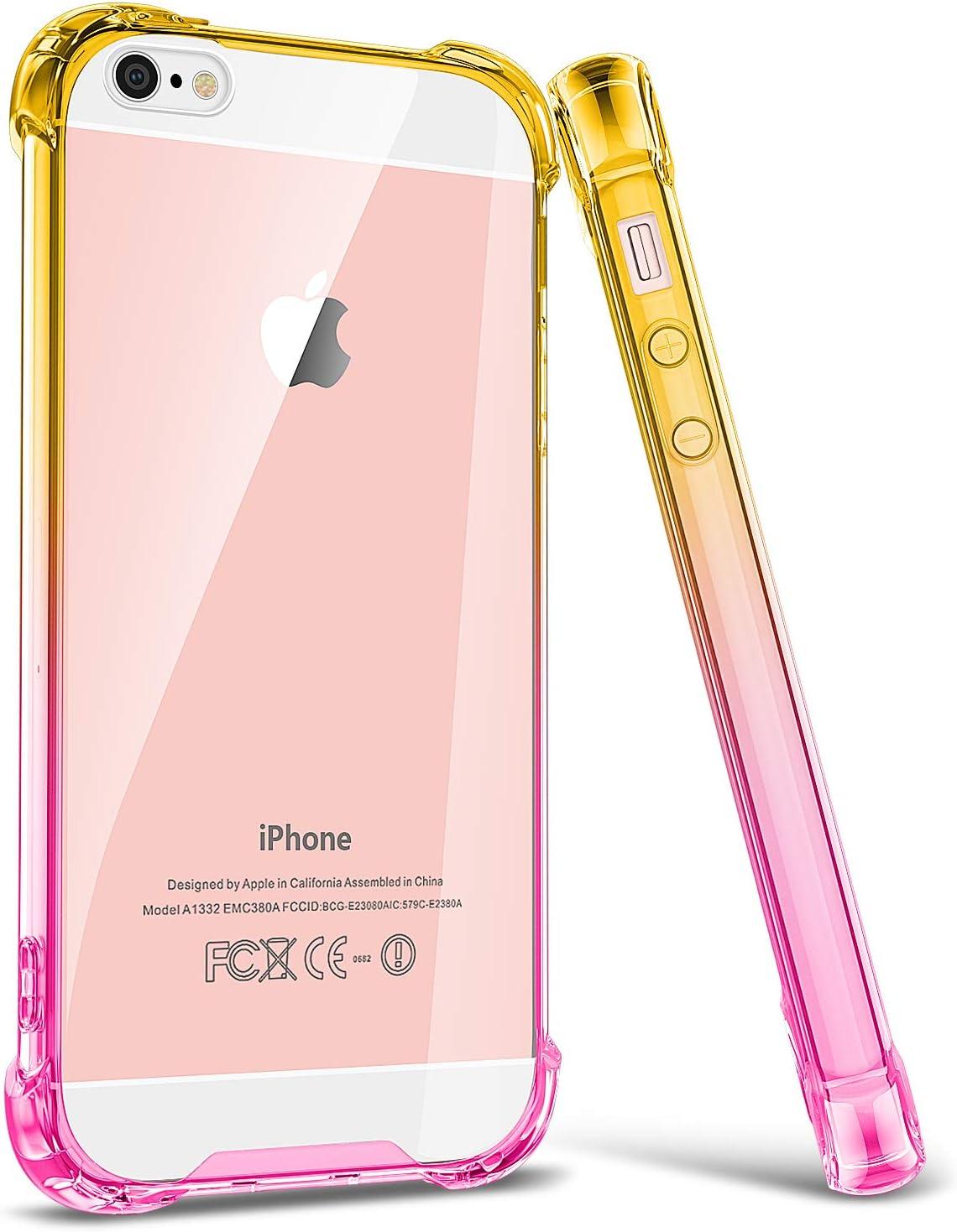 iPhone SE Case, Ansiwee Reinforced Anti Scratch Slim Cute Clear iPhone SE Phone Case Cover Colorful TPU Bumper Shock Absorption Protective Cases for iPhone SE iPhone 5 iPhone 5s (Yellow Pink)