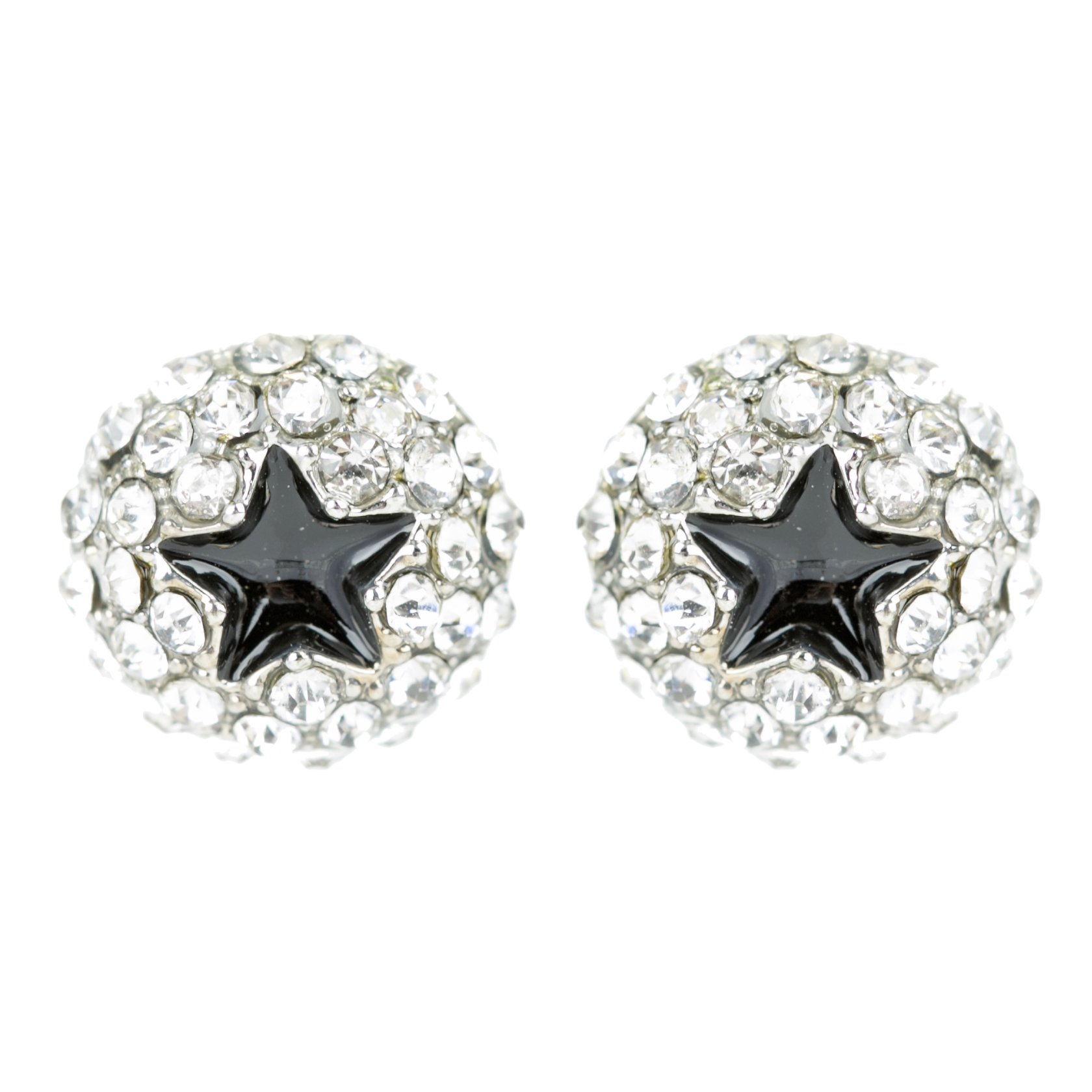 ACCESSORIESFOREVER Dazzling Crystal Rhinestone Star Round Fashion Stud Post Earrings E1194 Silver