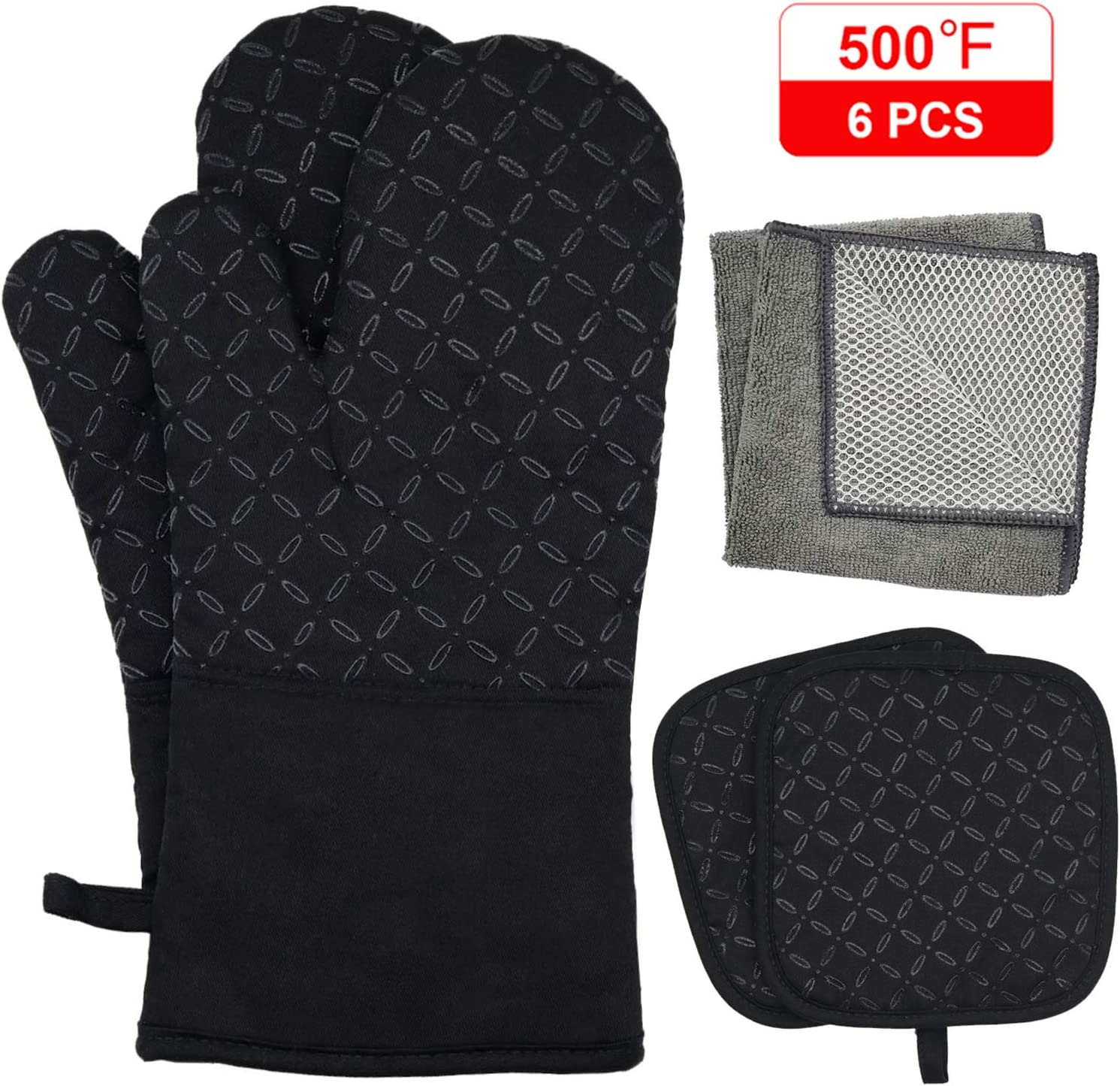 KEGOUU Oven Mitts and Pot Holders 6pcs Set, Kitchen Oven Glove High Heat Resistant 500 Degree Extra Long Oven Mitts and Potholder with Non-Slip Silicone Surface for Cooking (Black)