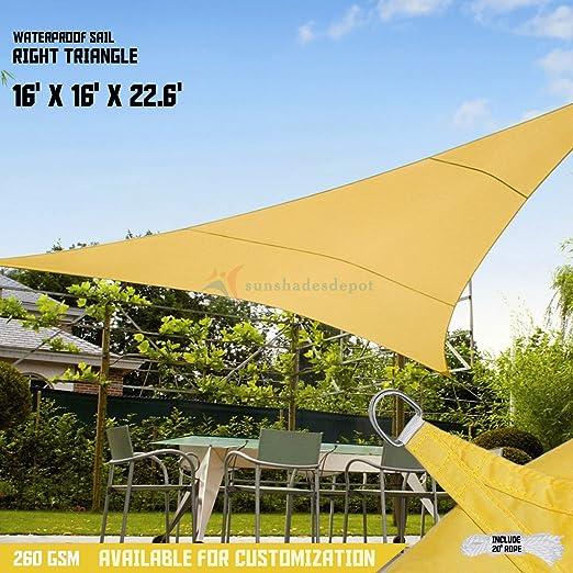 Toldo tipo vela Sunshades Depot, de 180 gs/m2, en forma de triángulo, impermeable, tejido, con borde curvo: Amazon.es: Jardín