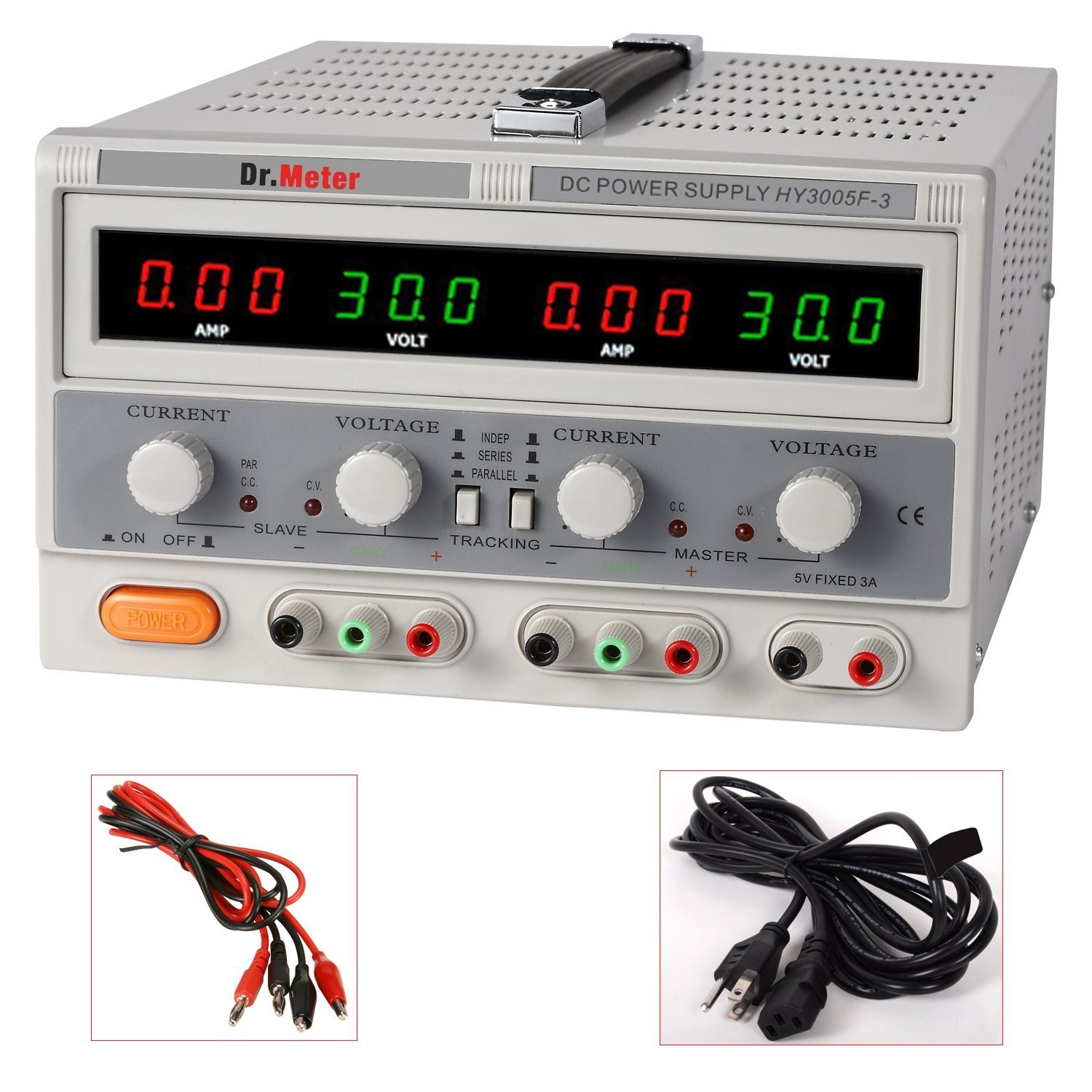 Drmeter Hy3005f 3 Variable Triple Linear Dc Power Supply 30v 5a 0 30v0 2a Adjustable Voltage And Current Regulator With Alligator Cable Cord Distribution Units Industrial