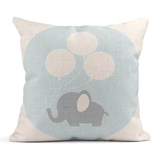 Kinhevao Cojín Azul Pequeño Pequeño Elefante Bebé Globos ...