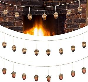 Acorn Garland Fall Thanksgiving Artificial Acorn Home Decor Banner Ten Fifteen Hand Nature Acorns On Burlap Rope