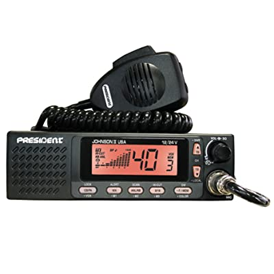 President Electronics Johnson II USA AM Transceiver CB Radio, 40 Channels AM, 12/24V, Up/Down Channel Selector, Volume Adjustment and ON/OFF, Manual Squelch and ASC, Multi-functions LCD Display: GPS & Navigation
