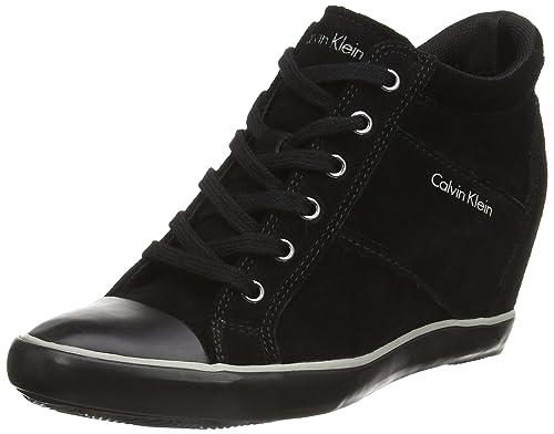 Calvin Klein Voss Suede - Zapatillas Altas de Cuero Mujer, Color Negro, Talla 41