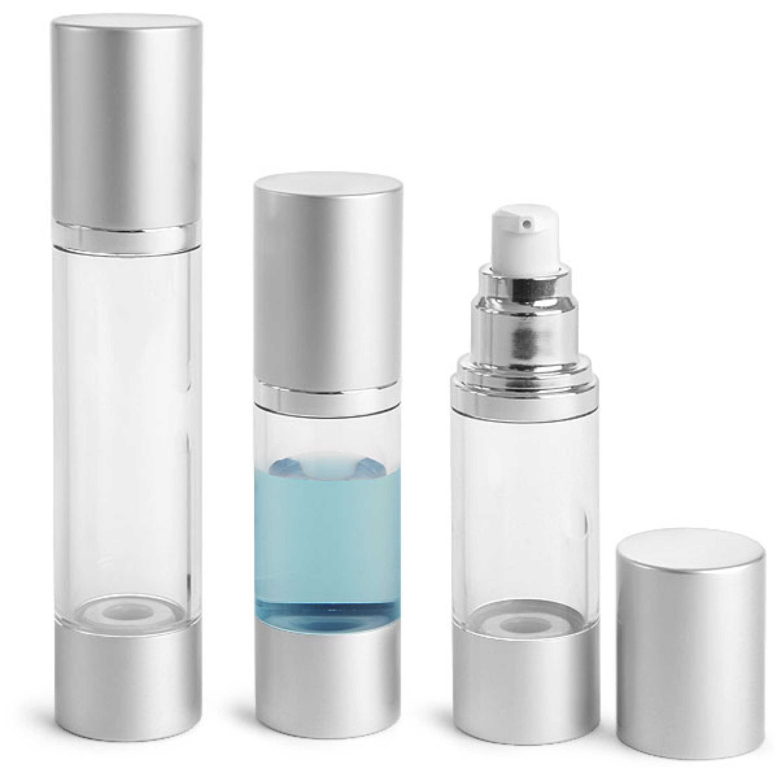 MagnaKoys Clear AS Airless Pump Bottles w/Silver Pumps & Caps Her's & His 1 oz / 1.5oz lotions and gels Dispenser (2 Pack) (1 oz & 1.5 oz Airless Pump)