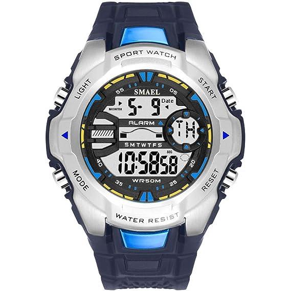 anyeda Reloj de Pulsera electrónica Reloj Digital LED Luz Trasera Acero Inoxidable Hebilla Deportes Relojes Hombres Plata Digital Reloj Polar: Amazon.es: ...