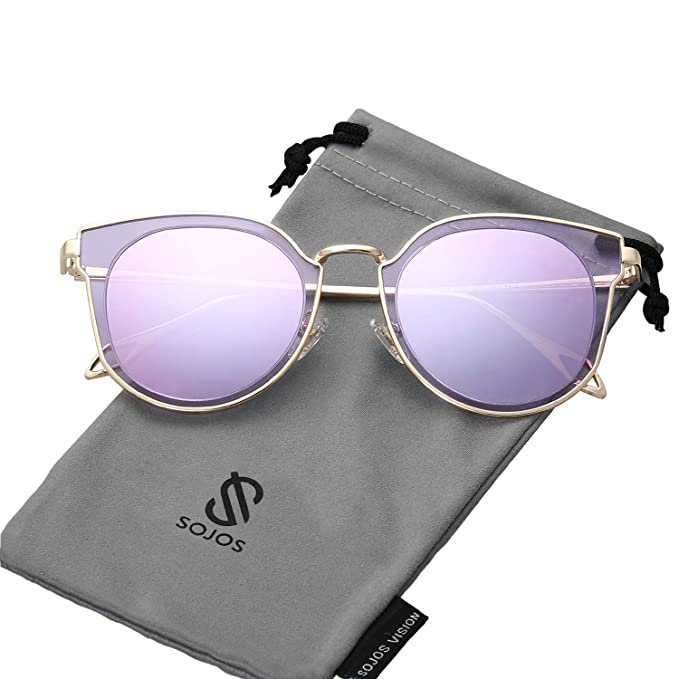 3e60ce21f SOJOS Gafas De Sol Unisex Vintage Lentes Espejo Polarizadas Protecciòn UV  SJ1057 Marco Dorado/Lentes Violetas: Amazon.es: Ropa y accesorios