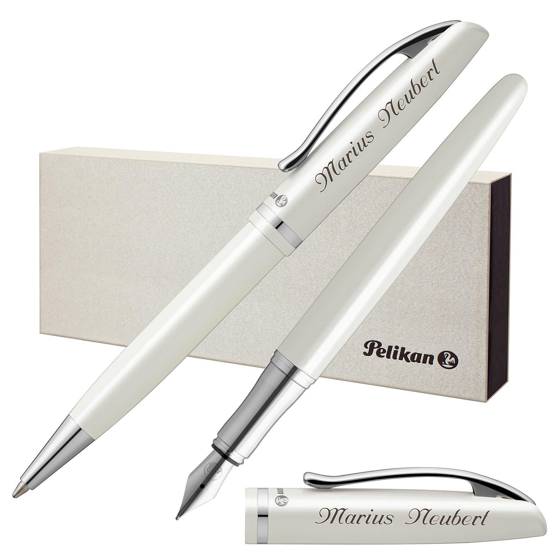 Pelikan Schreibset JAZZ ELEGANCE Weiß Metallic mit persönlicher Laser-Gravur Füllfederhalter und Kugelschreiber