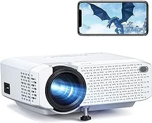 Crosstour Proyector Wi-Fi, Mini Proyector Portátil para Smartphone, Cine en Casa Inalámbrico Soporte Full HD, Pantalla Grande LED, Compatible con Android iPhone Movil iPad HDMI USB TV Stick