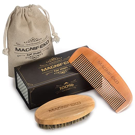 Beard Comb and Brush Grooming Set for Men - Home & Travel Grooming Kit Natural Handmade Boar Bristle Brush & Wooden Comb That Adds Shine & Health to Moustache,...