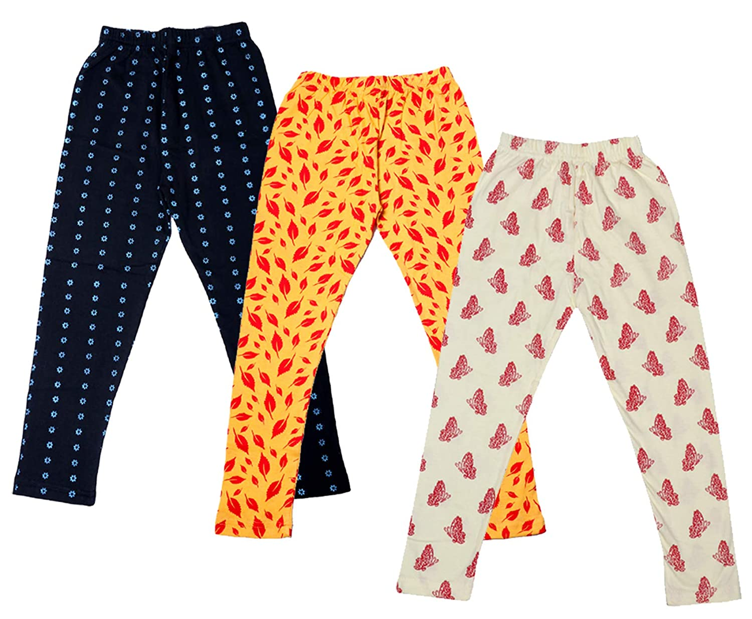 Indistar Girls Cotton Printed Leggings Pants Pack of 3