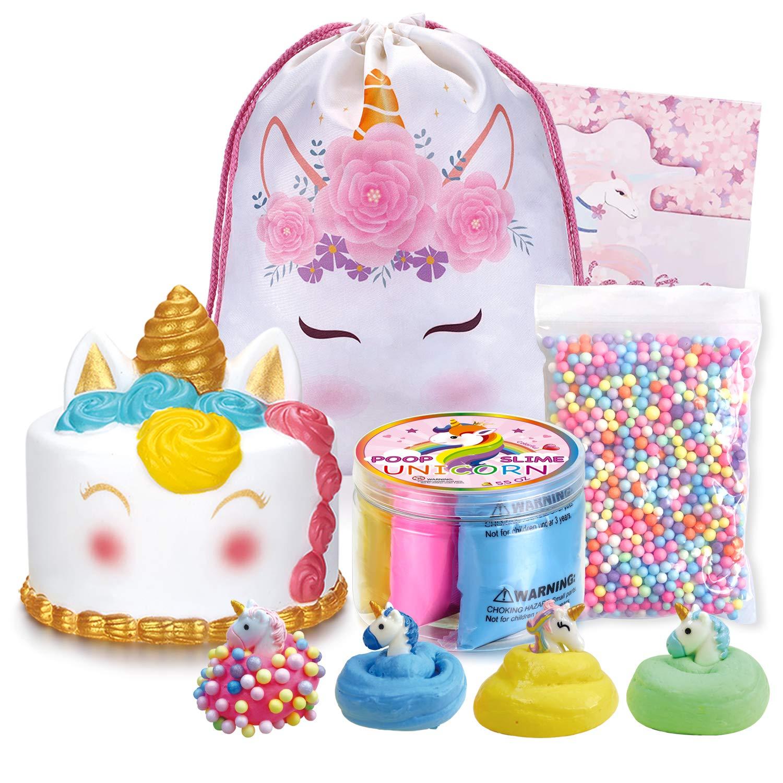 LittleBoo Unicorn Gift Set - Unicorn Squishy, Unicorn Slime, Unicorn Drawstring Backpack, Unicorn Card - Unicorn Gifts for Girls (Cream Cake Unicorn Squishy)