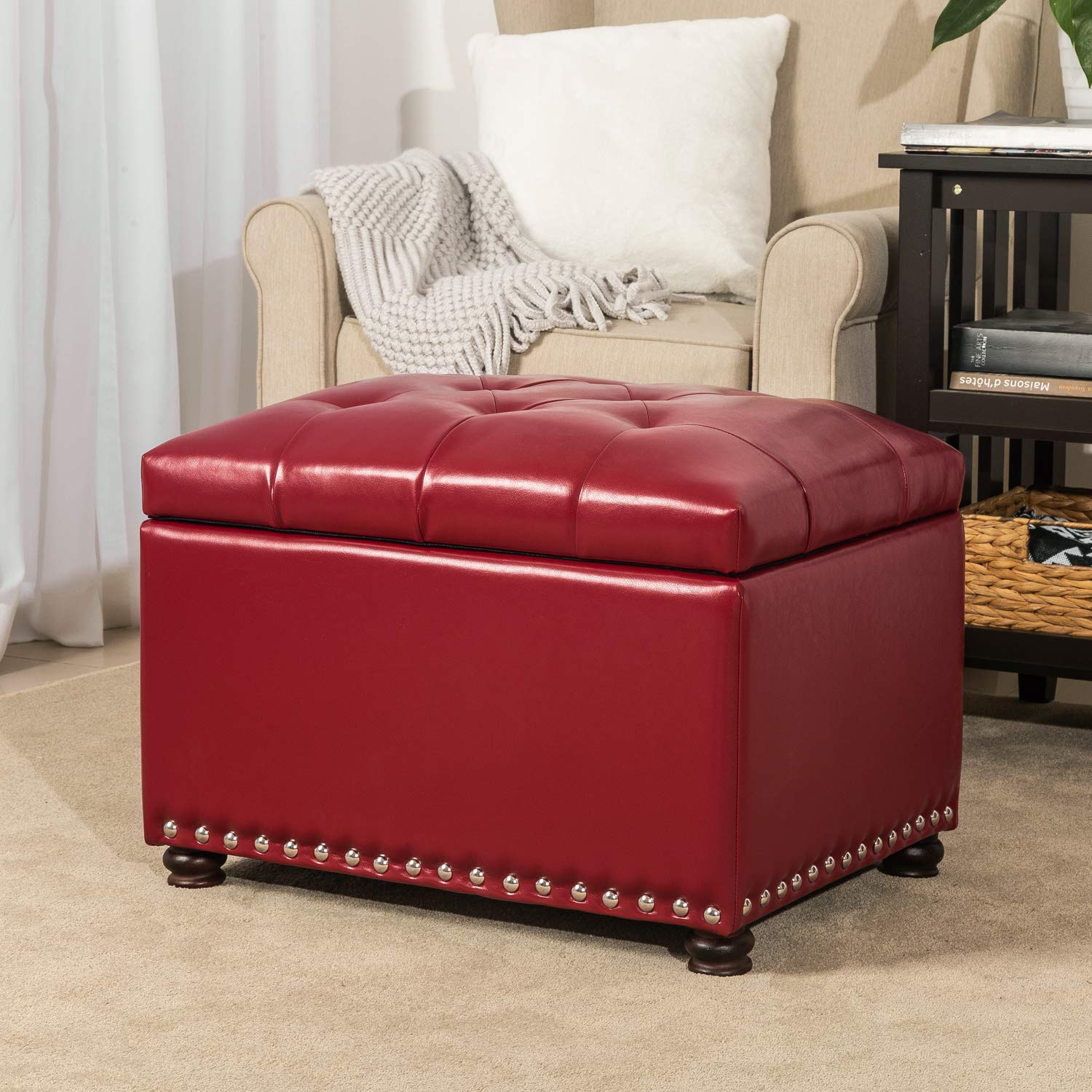 Homebeez Tufted Storage Ottoman Bench Faux Leather Footrest Stool with Lift Top & Nailhead Trim FT40AM03HB3-4, Medium, Red by Homebeez