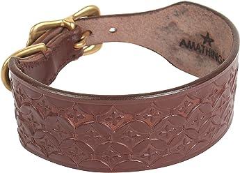 amathings Weiches Vollleder Windhunde Hunde Halsband in Braun Für Einen Halsumfang von 29 cm bis 33 cm und 4 cm Breite