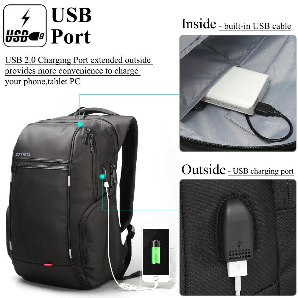 DTBG Mochila para Ordenadores portátiles de 17,3 Pulgadas con Puerto USB de Carga, Bolsa de Viaje Mochila de Negocios, universitaria, para Hacer Senderismo, ...